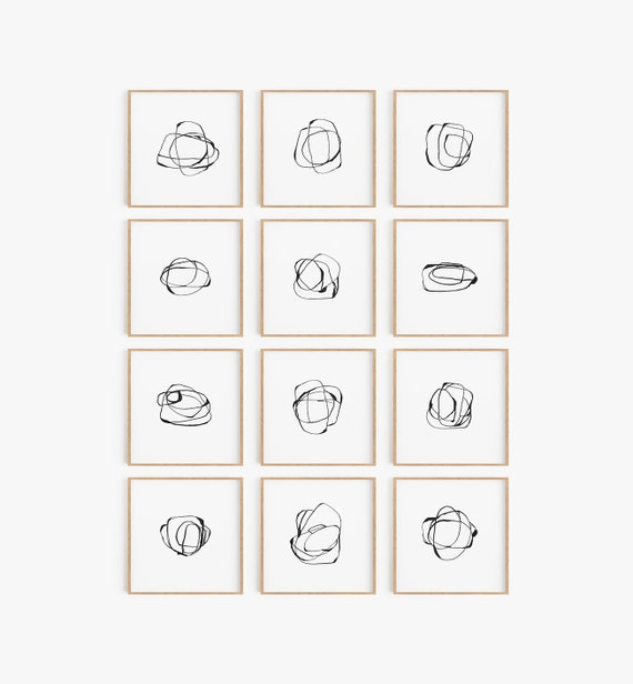 Set of 12 Black Wall Art, Set of 12 Prints, Modern Art Prints, Black Wall Art, Se of 12 Wall Art, Contemporary Art, Abstract Prints