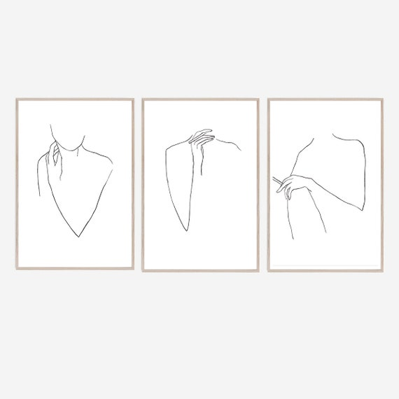 Set of 3 Silhouette Prints, Set of 3 Prints, Silhouette Wall Art, Minimalist Print, Line Art, Contemporary Art, Art Prints, Black White Art