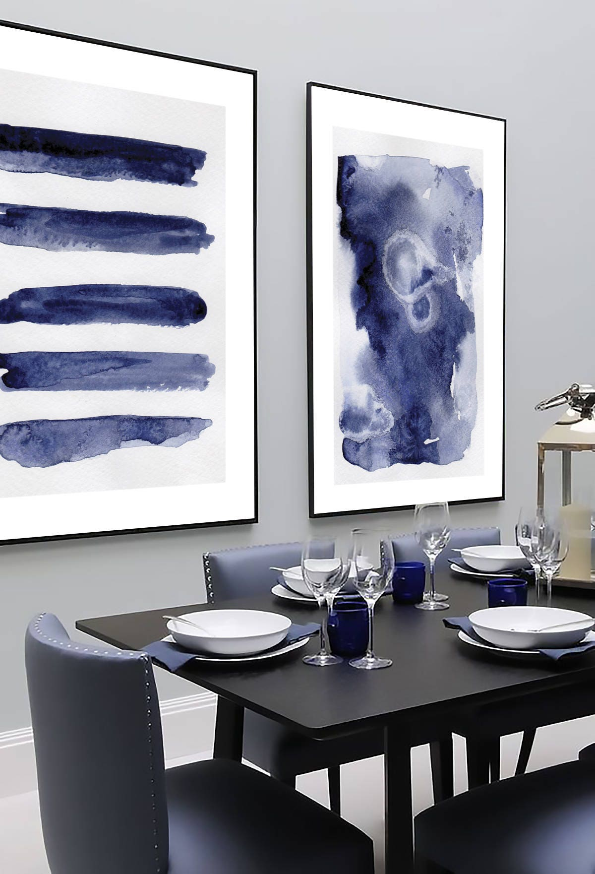 navy blue wall art set set of 2 blue abstract set of 2 prints set