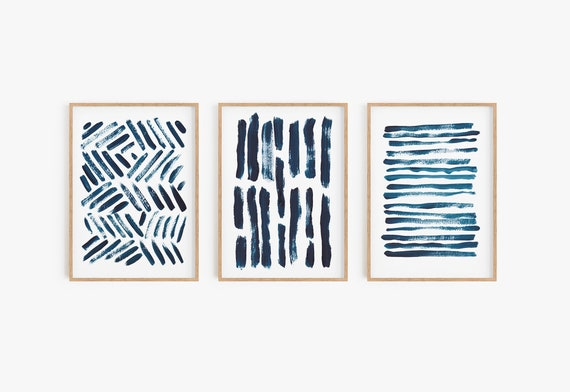 Set of 3 navy blue prints,Set of 3 wall art,Blue Abstract,Blue Decor,Minimalist Wall Art,Set of 3 prints,Digital Download,Printable art,Art