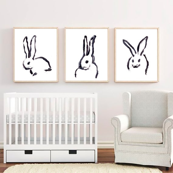 Set of 3 Nursery Prints, Set of 3 Nursery Wall Art, Bunny Print, Nursery Wall Decal, Nursery Art, Baby Room Decor, Set of 3 Prints, Wall Art