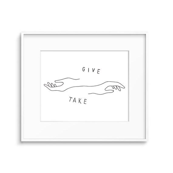Give Take Print, Graphic Print, Wall Art, Modern Minimalist Art, Black White Art, Art Print, Minimalist Art, Typography Print, Lines Print