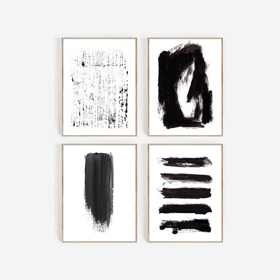 Set of 4 Abstract Prints, Abstract Set Of Prints, Set of 4 Art, Set of 4 Black White Prints, Set of 4 Black White Art, Set of 4 Art, Prints