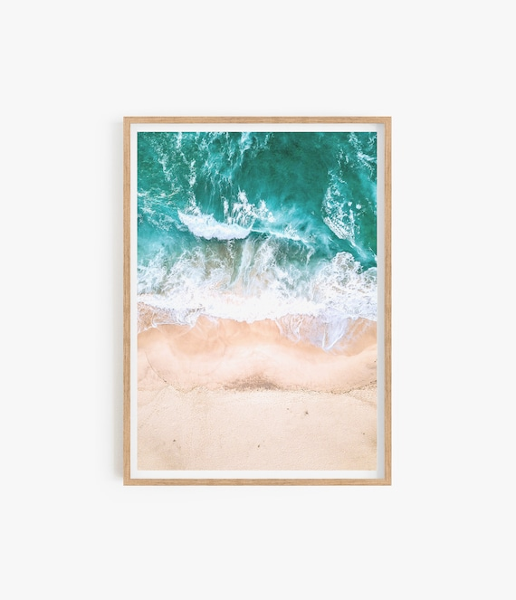 Beach Photography, Ocean Print, Printable Wall Art, Coastal Decor, Digital Download, Water and Clouds, Pastel Pink and Blue, Beach Coastal