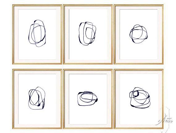 Set of 6 Navy Blue  Abstract Art, Set of 6 Prints, Abstract Art, Minimalist Art, Navy Blue, Large Print, Modern Art, Abstract Print Set