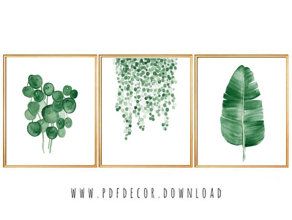 Leaves Prints, Set of 3 leaf prints, Watercolor Leaves, Tropical Leaves Prints, Set of 3 Wall Art, Tropical Prints, Set of 3 Prints, Art