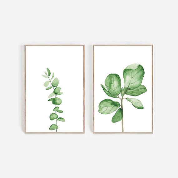 Set of 2 Leaves Prints, Set of 2 Watercolour Prints, Eucalyptus Print, Fiddle Leaf, Fiddle print, Greenery, Botanical Print, Tropical Prints