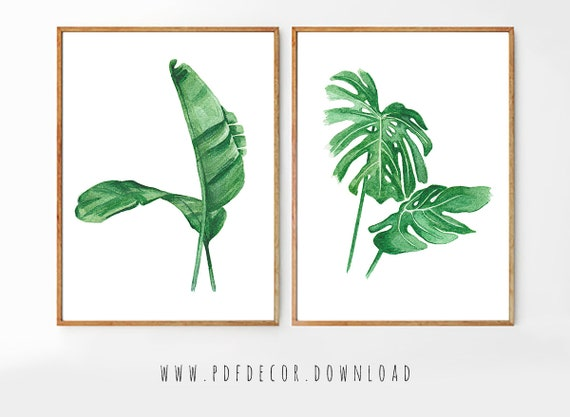 Set of 2, Set of 2 Prints, Set of 2 Wall Art, Set of 2 Watercolor, Watercolor Leaves, Tropical Decor, Set of 2 Leaves, Set of 2 Tropical