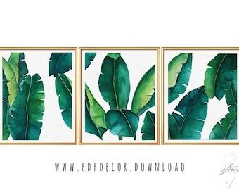 Set of 3 Prints, Tropical Leaves Set, Banana Leaf, Set of 3 Wall Art, Set of 3  tropical, Set of 3 watercolor, Tropical Prints, Botanical