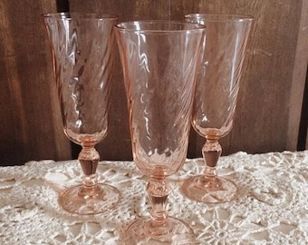 Set of Three Antique Pink Fluted Glasses
