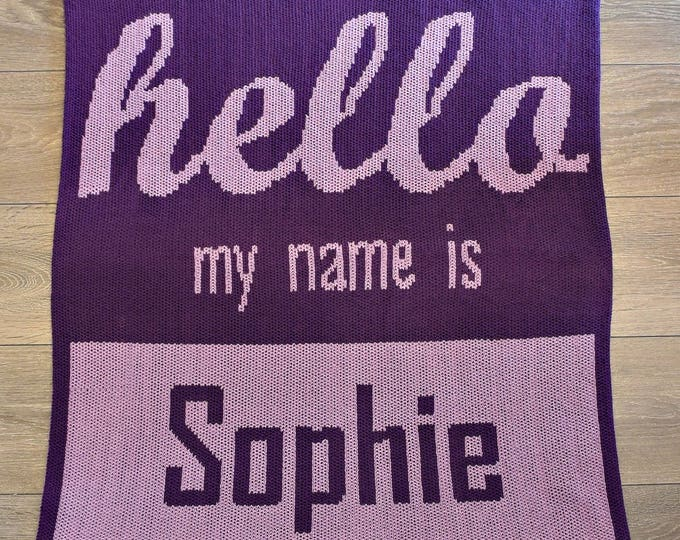 Hello My Name Is Custom Knit Baby & Stroller Blanket