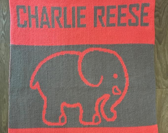 Elephant Custom Knit Baby & Stroller Blanket