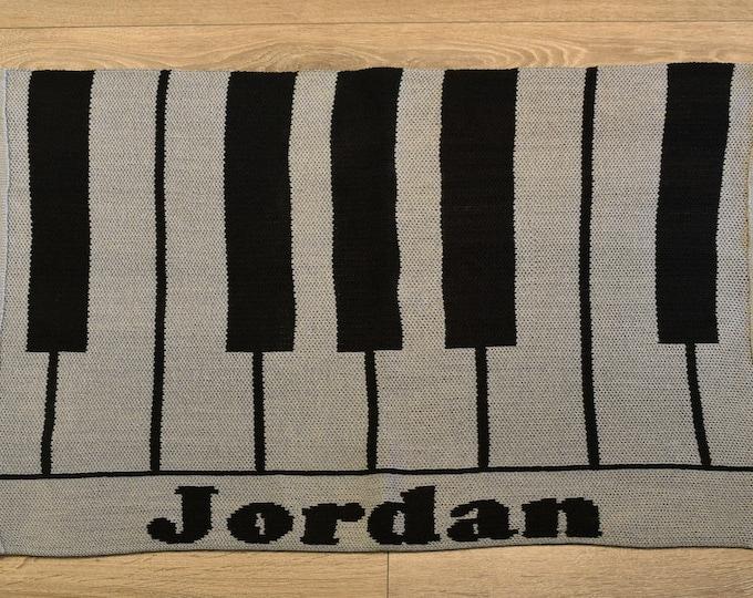 Piano Custom Knit Baby & Stroller Blanket