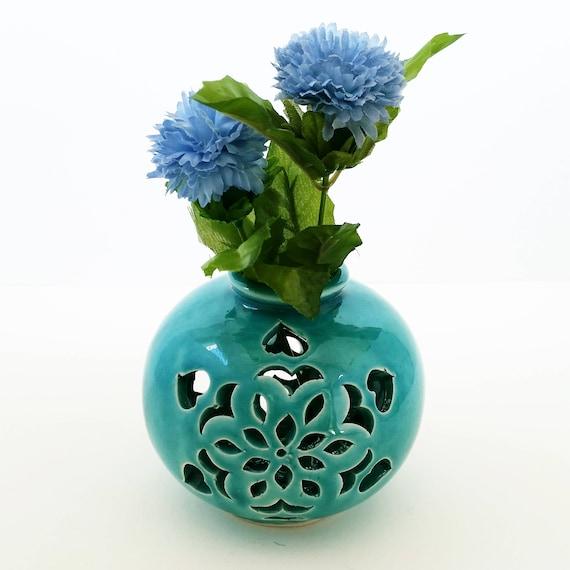 Turquoise Ceramic Vase Home Decor Turquoise Pottery Etsy