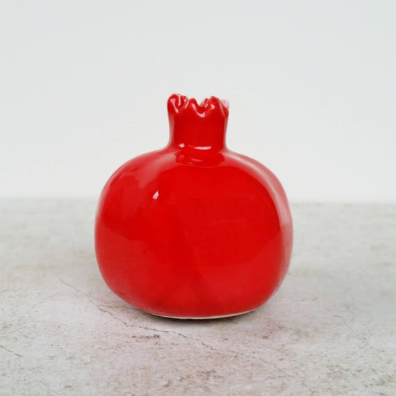 Red Ceramic Pomegranate Vase Pomegranate Figurine Pottery Etsy
