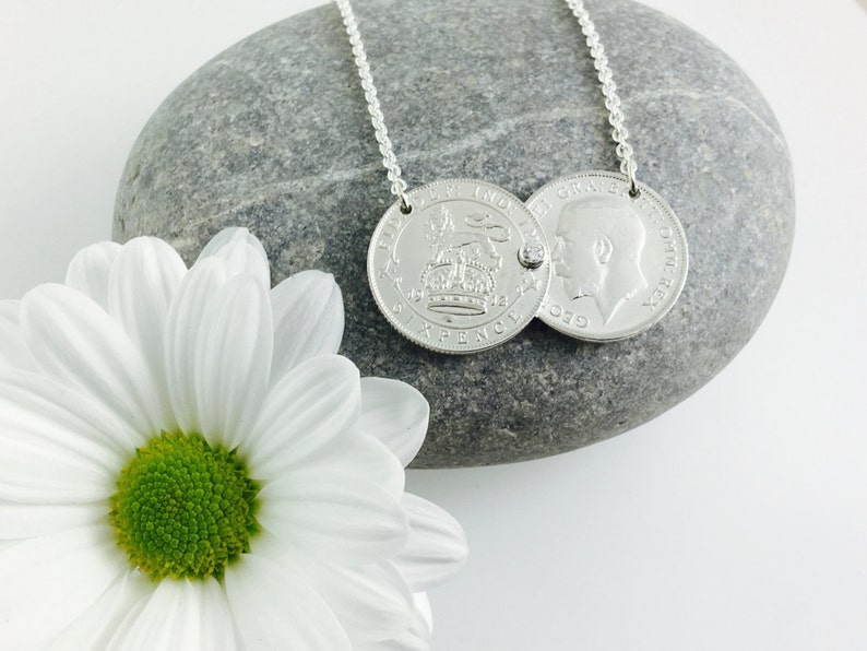 Double coin necklace pre 1920 sixpence or threepence 6d 3d image 0