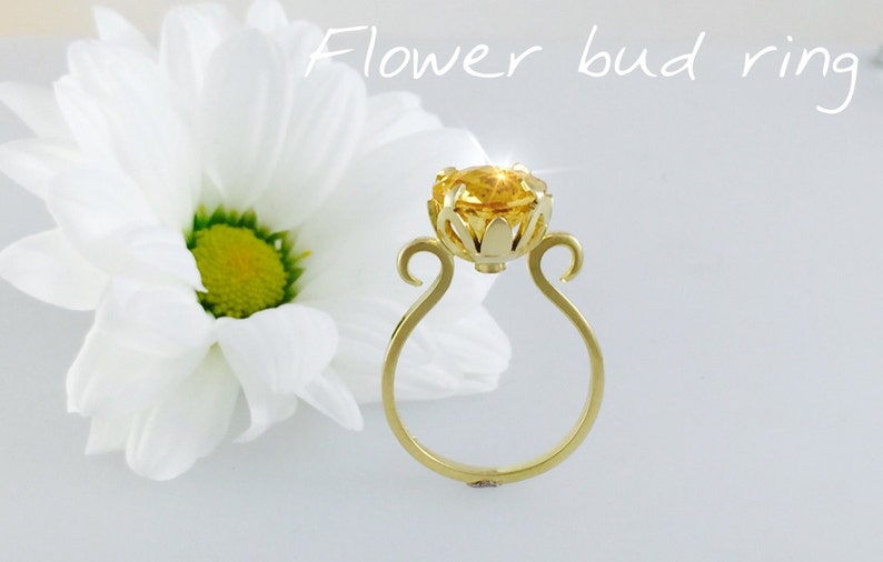 Flower bud Citrine statement ring  handmade 9ct gold with image 0