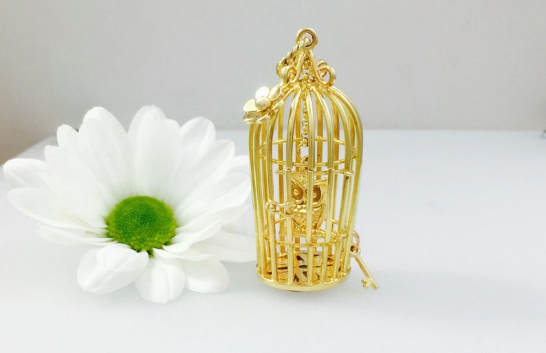 Gold Birdcage necklace statement piece  handmade cage pendant image 0