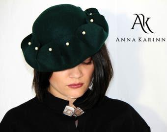 Dark green hat, Bowler Wool Hat, Fashion Hat, Felt Hat, 100 % Wool Hat,  Dark green felt hat, Winter Hat, Fashion Hat by Anna Karinna Design