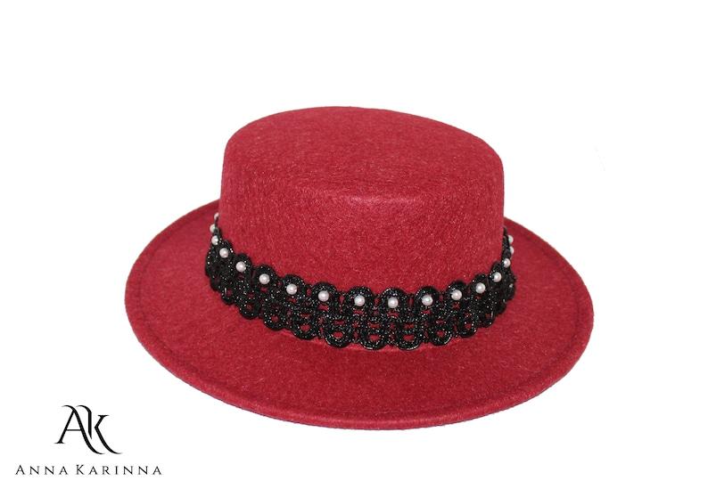 16cc3dc47d0 Bordeaux Hat Red Boater Hat Bordeaux Wool Hat Red Panama