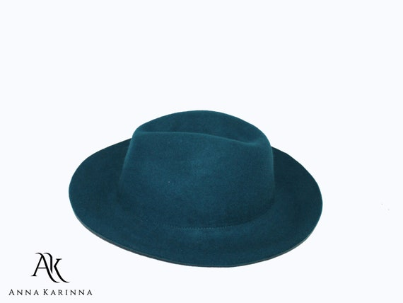 72278e64bb9eb2 Green Wool Hat Green Wide Brim Hat Green Fedoras Hat | Etsy