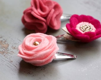Set of 3 Mini Flowers on Snap Clips