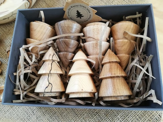 Beautiful Hand-turned Christmas Tree Forest in Gift Box