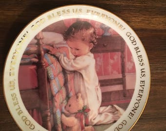 American greetings etsy christmas blessings american greetings porcelain keepsake plate 1992 god bless us everyone collectibles home decor vintage m4hsunfo