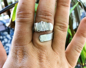White Sea glass ring