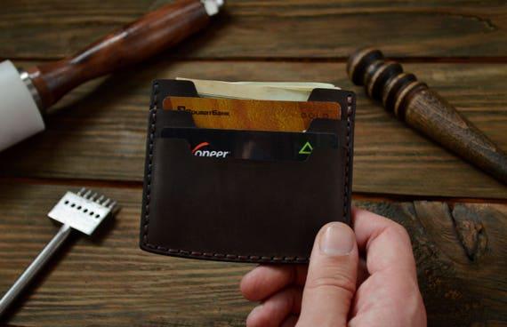 Carte porte, porte carte en cuir, porte-cartes chocolat, petit porte monnaie, porte monnaie en cuir, portefeuille mince, Pocker hommes ' portefeuille