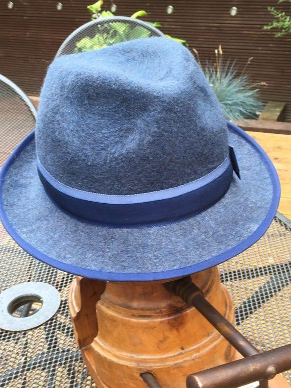 97c3412e4904a Denim Blue Handmade Woolfelt Trilby Hat Classic Casual | Etsy