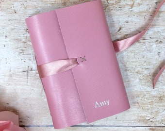 Personalised Leather Travel Journal, Leather Journal, Personalised leather notebook, Anniversary Gift, Pink gift, Mother's Day personalized