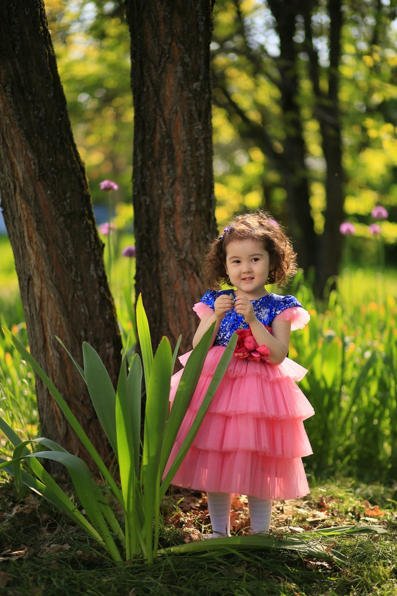 Girls party dressPageant sparkle prom dressBaby tutu dressFirst birthday party outfitFlower girls dressesBlue toddler pageant dress.