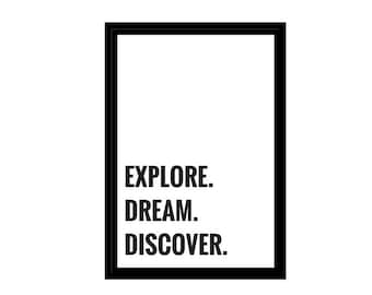 "Explore. Dream. Discover. Travel Quote, Minimalist Photo, Digital Download, Inspirational Quotes, 4x6"", A1, A2, A3, A4, Canvas File, Poster"