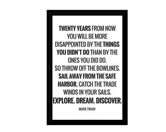 Twenty Years From Now Quote, Minimalist Photo, Digital Download, Inspirational Quotes, A1, A2, A3, A4, Canvas File, Text & Quote Poster