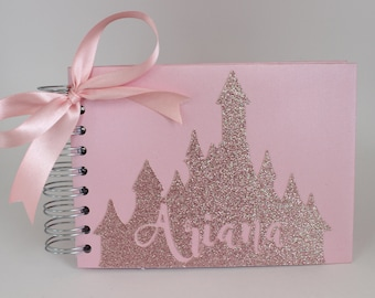 Disney Autograph Book Rose Gold Glitter Disney Princess Castle Personalized Shimmer Pink Signature Book Disney World Disneyland
