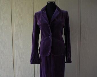 Purple 1970-1980 Lilli Ann Velvet Suit