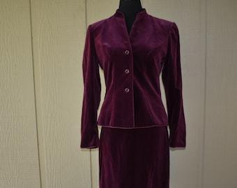 Velvet Burgandy Lillian Ann Suit