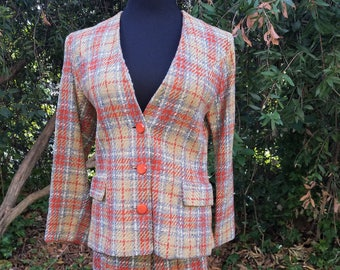 Vintage 1960's Rough Riders Lady R Wool Plaid Suit