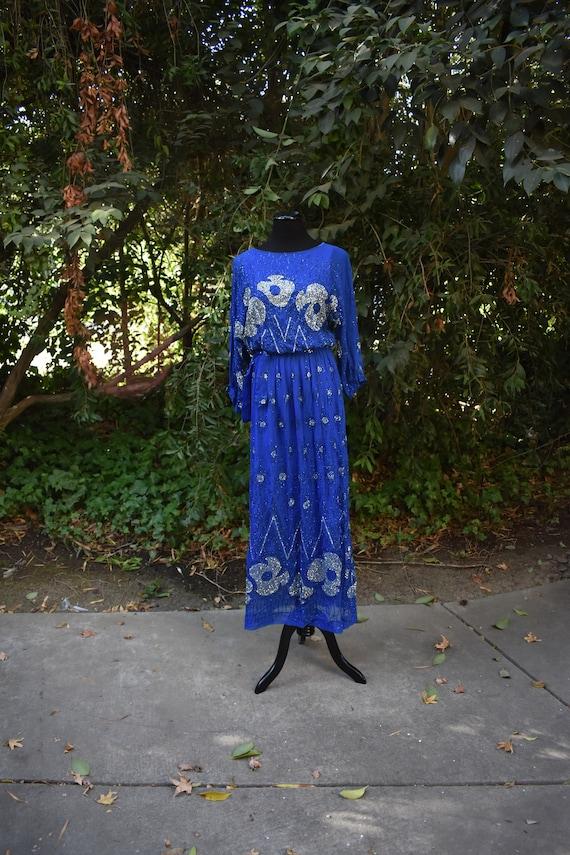 Vintage Royal Blue Maxi Dress