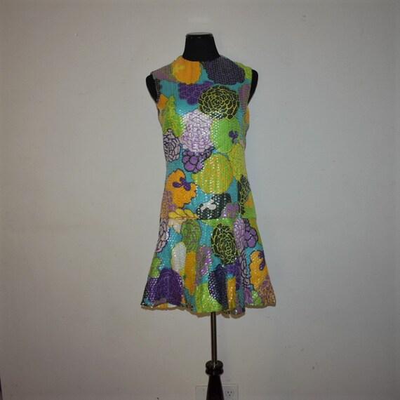 Vintage 1960's Bob Bugnand Floral Sequin dress