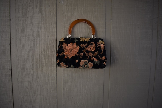 Midcentury Carpet Bag with Lucite handle