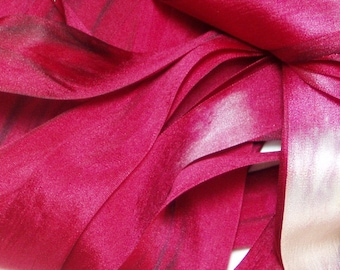 Soft Red Hand Dyed Silk Ribbon for Embroidery