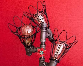 Caged Edison Bulb Accent Lighting with Wooden Base