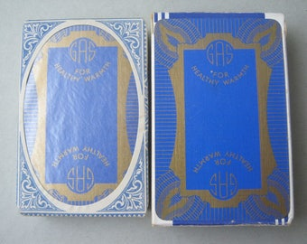 Art deco playing cards thomas de la rue duty tax sealed gilded back design art deco  gas for healthy warmth linen finish 1930