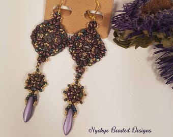 Purple Daggers Beaded earrings, green and gold, beaded dangle earrings, beaded drop earrings, czech beads, superduo beads, boho earrings