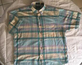 167bc063ec Vintage Lands' End Madras Short Sleeve Shirt