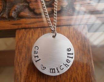 Personalised Couples/Lovers or Siblings/Children Names &Heart Circular Pendant Necklace ~Silver Handmade Hand Stamped Jewellery Jewelry Gift