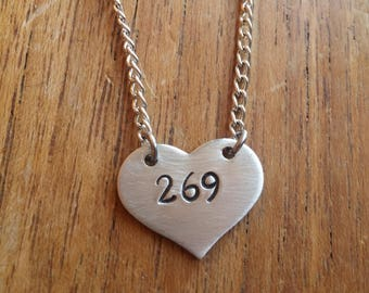269 ~ Love Heart Shaped Pendant Necklace ~Vegan, Calf, Animal Rights, Awareness ~ Rustic Silver Handmade Hand Stamped Jewellery Jewelry Gift