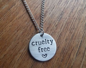 Cruelty Free ~ Round Circular Pendant Necklace ~ Vegan, Animal Rights, Activism ~ Rustic Silver Handmade Hand Stamped Jewellery Jewelry Gift
